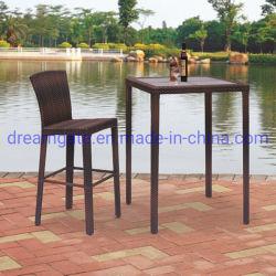 현대적인 도매 야외 정원 파티오 다이닝 룸 알루미늄 메탈 접이식 레저 라운지 테이블 가구 플라스틱 등나무 높이 사공품 높이 Back Bar Chair