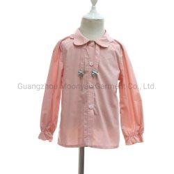 赤ん坊のための花弁のピーターパンカラーオックスフォードのワイシャツのブラウスは女の子の冬の衣服をからかう