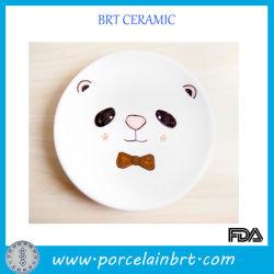 Placa cerâmica branca com uma adorável Panda Face