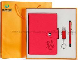 Estilo de Grabado personalizado papel A5 de cuero de PU Ofiice Papelería cuaderno de notas con bolígrafo Set de regalo