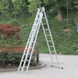 3 forma de escalera de incendios escaleras y compacta de aluminio multiuso Stepladders escalera plegable