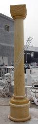 Un design moderne carré bouchon solide pilier capital naturel de colonnes de pierre de marbre pour le jardin décoration maison (QCM116)
