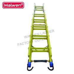 Escalera de incendios escalera plegable, escalera de extensión con gancho, el aislamiento de la escalera de fibra de vidrio para la venta