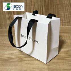 Spot publicitario de impresión personalizado parte de la tarjeta blanca exquisita ropa de Papel Caja de Regalo Compras bolsa de papel portátil