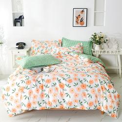 Imprimé floral style campagne 90GSM Bedsheet Polyester Ensemble de literie avec housse de couette