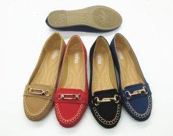 Mode Bouton en métal plat personnalisé fait pu ballerine chaussures pour femmes