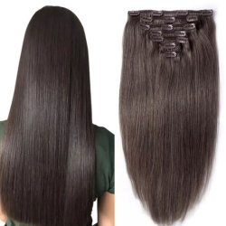 Estensioni peruviane senza giunte naturali brasiliane dei capelli umani del commercio all'ingrosso 100% Remy con la clip nella trama della pelle dei capelli