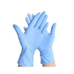 I guanti del nitrile, il media blu dei guanti a gettare di Hizek, lattice liberano, antiallergico, resistente all'uso