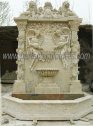 Jardín de estatuas de mármol antiguo muro de piedra de la fuente con agua climatizada (SY-W139)