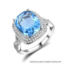 Anello blu sterlina dell'argento dei monili delle 925 della pietra preziosa di cerimonia nuziale donne dell'anello