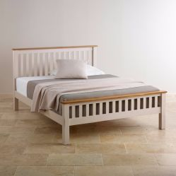 Деревенский цельной древесины из дуба в белый цвет одной односпальной кроватью кинг с двойной