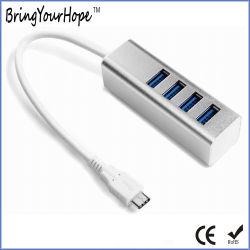 Carcasa de aleación de aluminio tipo C 3.0 USB hub con 4 puertos (XH-HUB-013)