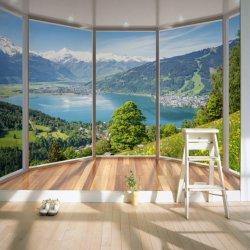 カスタム3D壁紙のWindowsの景色の寝室の壁紙のために適した壁の壁の芸術