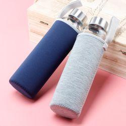 새로운 도착 휴대용 유리제 투명한 물병 OEM BPA는 2개의 뚜껑 및 피복 소매를 가진 물병을 해방한다