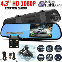 4.3'' de 1080p de Automóviles de doble lente de espejo de DVR Grabador de la leva de Guión+Kit de cámara de visión trasera