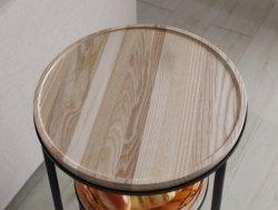 少数の現代引き締められた鉄の芸術の端円形の灰の純木のデスクトップの二重デスクトップのコーヒーテーブルの茶表