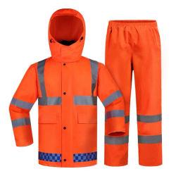 방수 리플렉티브 로드 안전 재킷 레인 코트 작업복 라이너트 정장 성인