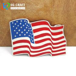 Hebilla del cinturón de la bandera americana que el metal dorado antiguo pasada de moda el logotipo de la banda de la hebilla del cinturón