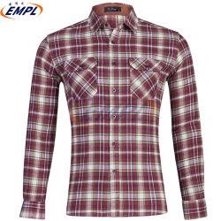 Tasto lungo del manicotto del plaid all'ingrosso di modo sulle camice casuali 100% dell'uomo sottile di misura della flanella di cotone