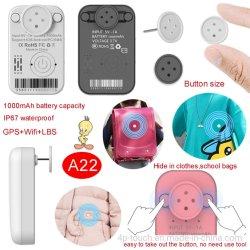جهاز تعقب مقاومة المياه الجديد عالي الجودة 2G IP67 طويل خدمة SOS Ultra Mini GPS Tracker للأطفال الذين هم في سن الطفولة A22