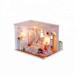 Рождество деревни подарок красивой принцессы игрушка Деревянная кукла дома с помощью света, Детский Craft комплекты оптовая торговля