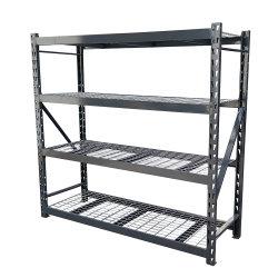 Scaffale in metallo per scaffali in acciaio a 4 livelli commerciale Con Decking in filo