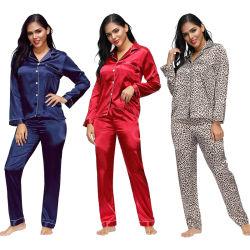 Tamanho mais grosso acetinado Modal Seda Sleepwear mulher sexy pijamas