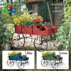 Legno esterno rustico della decorazione del carrello del POT di fiore del giardino della base della piantatrice della rotella di vagone