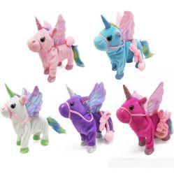 걷는 전기 음악 Unicorn 견면 벨벳 장난감 박제 동물 장난감