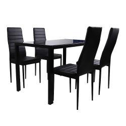 Factory Wholesale Promotional Iron Leg Contemporary Black Glossy Glass Top Eenvoudige stijl keuken Restaurant meubels eettafel