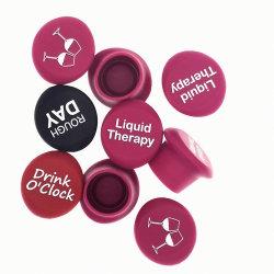 Bouchons de bouteilles réutilisables de grade alimentaire drôle personnalisé rouge vin bouchon en caoutchouc de silicone