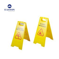 Dobrável e sinal de piso molhado de plástico amarelo