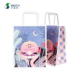 Bewegliche Pantone Farben-Marken-kleidet weißer flacher Griff-Packpapier-Einkaufen-Verpackungs-Beutel für Geschenk NahrungsmittelTakeaway