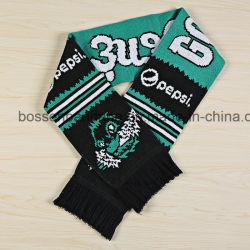 L'OEM progetta la sciarpa per il cliente calda lavorata a maglia acrilica della cresta dei tifosi del jacquard