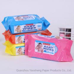 도매 목제 젖은 닦음 알콜 자유로운 80PCS 아기는 아기 부드러운 젖은 조직을 닦는다