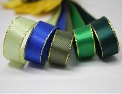 Bord d'or satin double face ruban de satin de polyester pour la décoration de mariage