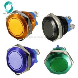 Multicolor 3A 250V AC Inicio el botón de bocina de 16mm Verde Azul Negro Oro Interruptor Pulsador de metal resistente al agua de metal