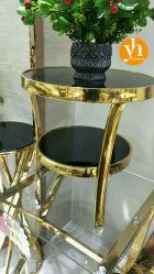 Muebles de jardín de mesa de vidrio de dos capas Teléfono Maceta de cojinete de soporte de mesa de café
