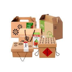 Het Document van Kraftpapier van de Douane van de Fabriek van China plooide het Plantaardige Vakje van het Karton van de Gift van het Fruit Vouwbare voor de Bosbes van de Aardbei van de Aardappel van de Tomaat van de Appel van de Banaan van de Mango van de Citroen