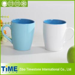 En céramique couleur unie en grès blanc des tasses à café (7106c-006)