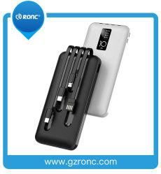A carga rápida 10000mAh bancos Power Charger Micro USB incorporado/Tipo C/Lightning/ Cabo USB de 4 em 1 Banco de energia móvel portátil