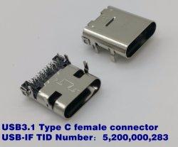 """USB3.1 24 broches du connecteur de type C, numéro TID USB-IF : 5200000283, Intensité nominale : 5A MAX. La transmission de données : 10g, plaqué or : 30u"""" min. Durabilité : 10000 cycles"""