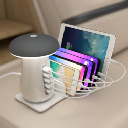 Lâmpada cogumelo USB Mobile Phone suporte do carregador de secretária Estação de Carregamento iPhone a lâmpada de carregamento Carregador qi Telefone Lâmpada Lâmpada de Carga levou Luz noturna