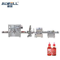 서보 모터 HDPE 병 충전 및 알루미늄 호일 밀봉 기계 식품 화장품 제약 액상 페이스트 소스
