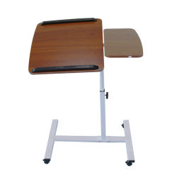 Regulable en altura Solid-Top móvil portátil Desk Carrito Tabla ergonómico, nogal