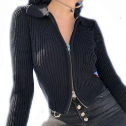 La mujer otoño cremalleras dobles Slim Knit Cardigan Jersey Outwear sólidos