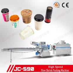 Auto filme POF Wrapper de contração da máquina para café instantâneo Paper Cup, Máquina de túnel de embalagem horizontal com o controle do Servo