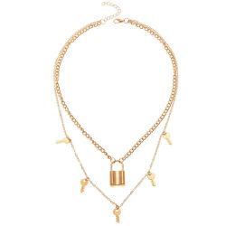 MultiLagen Twee van de Halsband van de Sleutel van het Medaillon van de Juwelen van de manier de Halsband van de Ketting