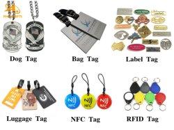 Promoción CUSOM bordado en blanco RFID NFC ID cuero plástico suave PVC caucho Metal Stainles Acero Hang etiqueta Bolsa de viaje Nombre Etiqueta de perro de mascota