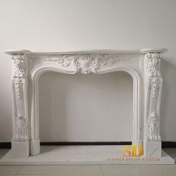 Fabricante China de mármol blanco de estilo francés/chimenea de piedra manto para la venta